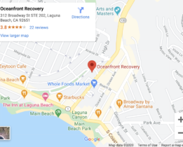 Ocean front recovery center Laguna Beach California map